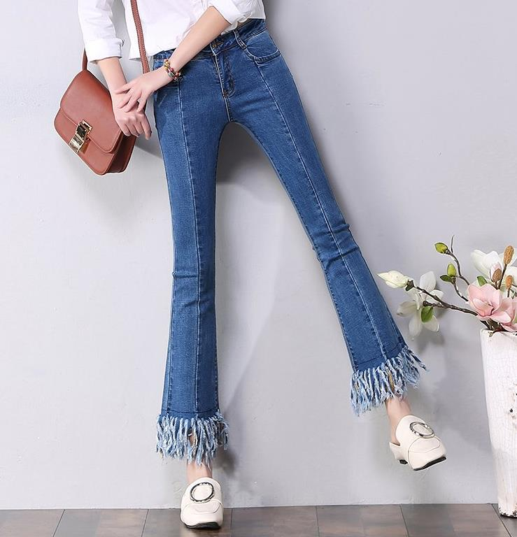 2017 new high waist denim fringed edges female capris flare pants skinny jeans s 4xl big size high waist capris women sexy skinny jeans female denim capris girls blue jeans maxi jeans female high waist