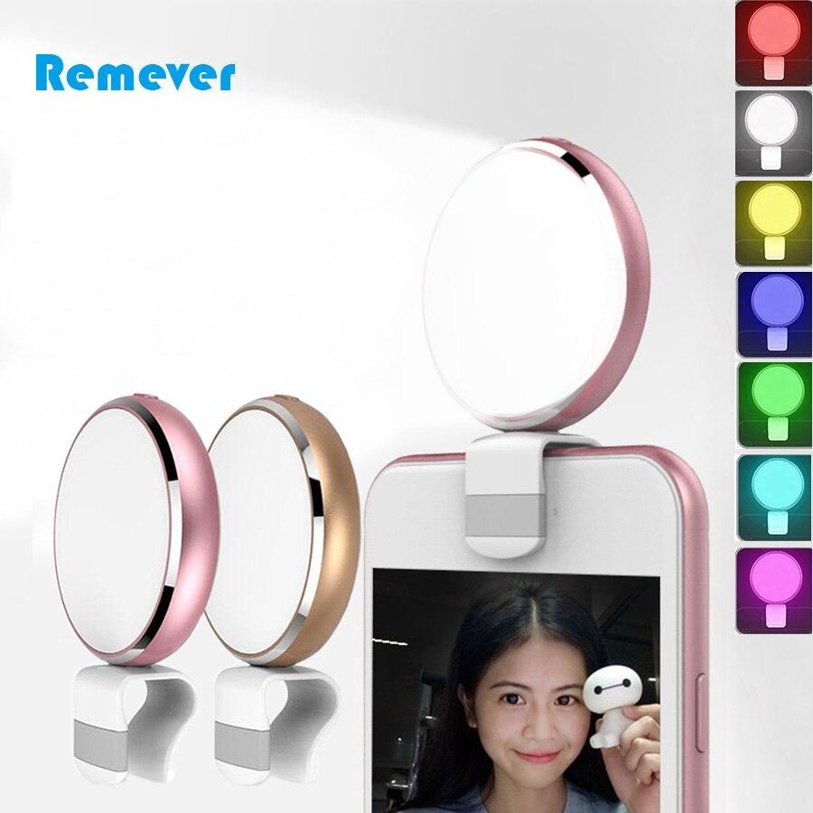 Mini recarregável selfie led flash luz de preenchimento com espelho 7 cores para iphone samsung huawei xiaomi telefones celulares