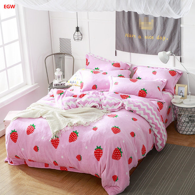 Home Textile Winter Warm Bedding Set Strawberry Whale King Queen Flannel  Fleece Duvet Cover Soft Kids Bedding Bed Sheet Starfish