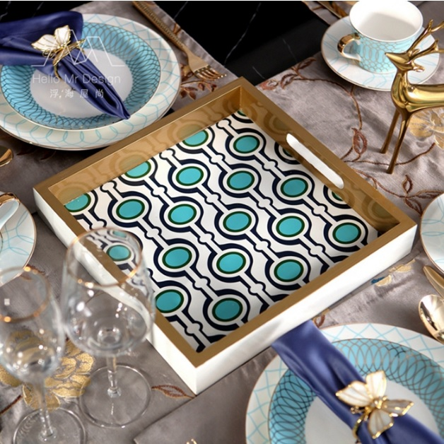 Wood Serving Plate with Blue Peacock Feather Pattern Enamel one sheet delicate golden peacock feather pattern nail art sticker