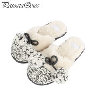 New Winter Autumn Knitting Cotton Padded Women Slippers Indoor House Non Slip Comfortably Warm Home Shoes