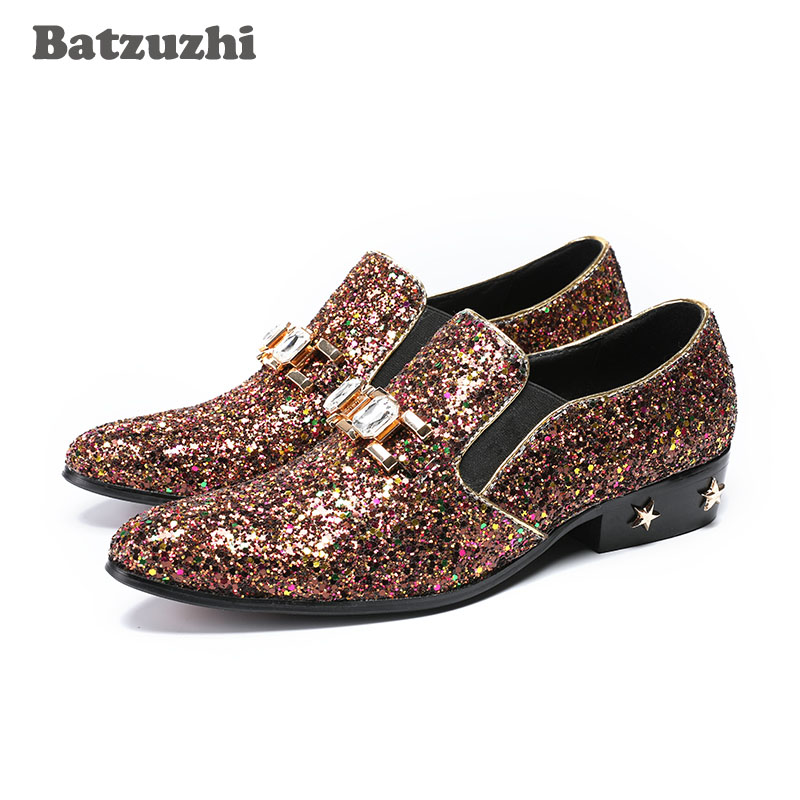 2018 Handmade Men Shoes Pointed Toe Brown Glitter Men Leather Dress Shoes Crystal Leather Heels with Stars Wedding Party Shoes недорго, оригинальная цена