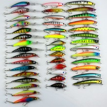 43Pcs/set Fishing Lures Minnow Lure Crank Bait Mixed Size Fly Carp Fishing Accessories Artificial Baits Wobbles Kit Swimbait
