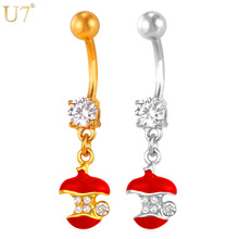 U7 Red Crystal Cute Apple Belly Button Ring Women Body Jewelry Gold/Silver Color Long Navel Ring Piecing Jewelry DB014(China)