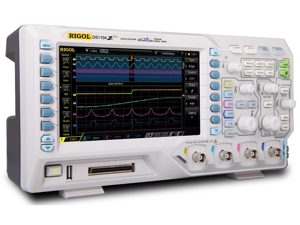 Image 3 - RIGOL DS1104Z Plus 100 MHz Digital Oscilloscope with 4 CH and 16 Digital CH 25 MHz Bandwidth with 2 Signal Source ChannelsOscilloscopes   -