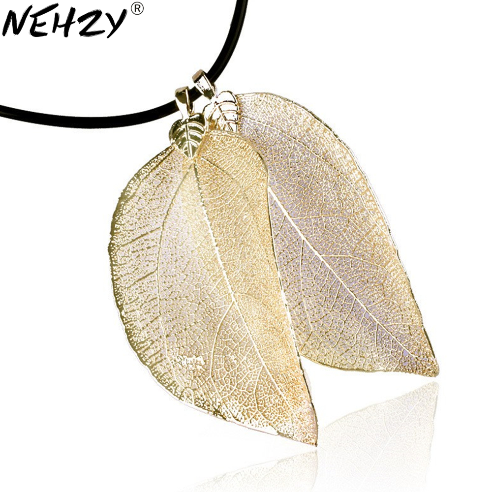 24K gold plated natural leaf gold leaf gold leaf female sweater chain necklace new women's fashion jewelry pendant