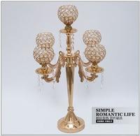 H65cm 5arm gold candelabra crystal candle holder wedding candelabra decorative candle lanterns wedding glass candlesticks ZT079