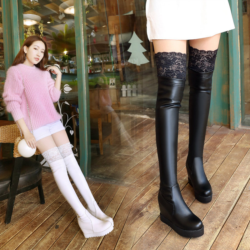 New Autumn Winter Boots Elastic Women's Lace Over Knee High Boots Short Plush Women's Thigh High Boots  Flat Knee High Boots 2016 autumn and winter new elastic high
