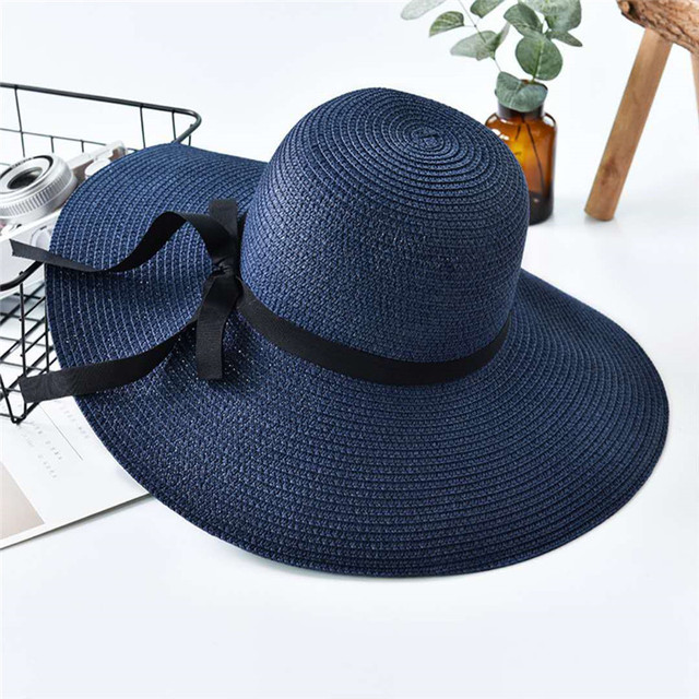 Handmade Weave letter Sun Hats For Women Black Ribbon Straw Hat