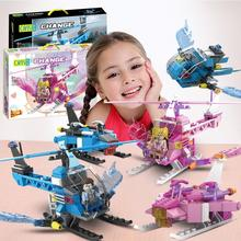 Helicopter with wings Building Block Model Pink Blue Three changes Bricks figures small particle Desktop toys for Children gift