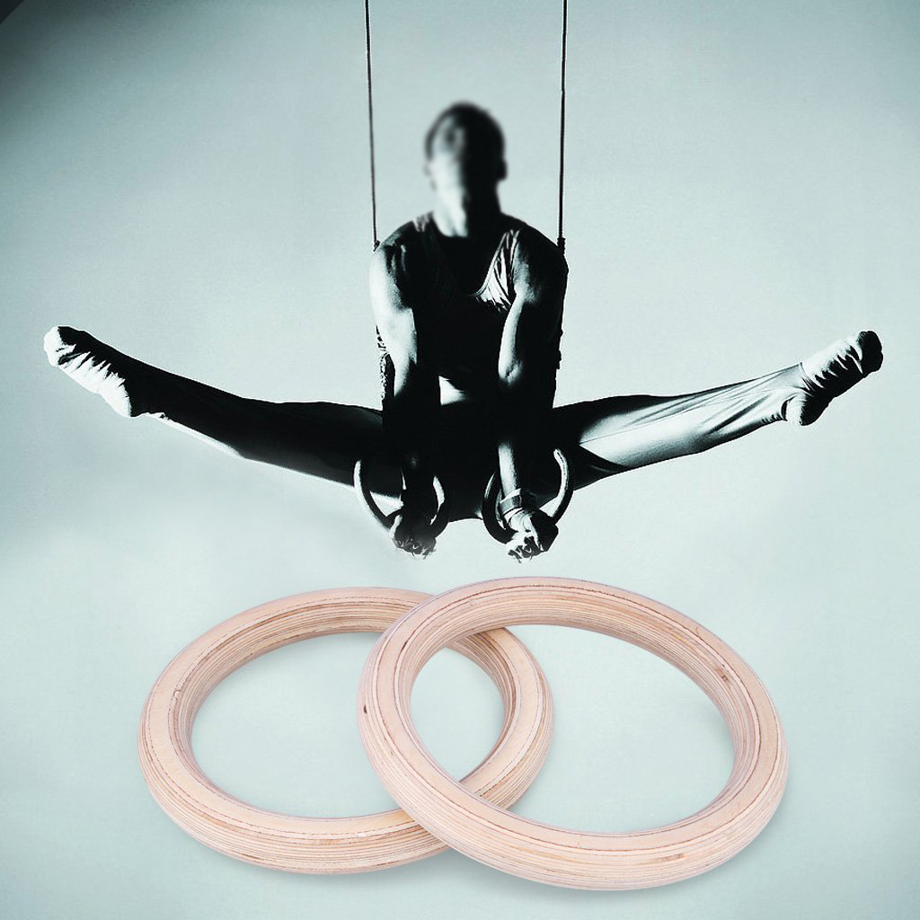 Professional Adjustable Birch wooden Gymnastic Cross fit Gym Strength Fitness Training Gym Rings Wooden Gymnastic Rings Rings