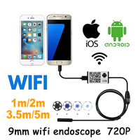 Wifi Iphone Endoscope HD 1m 3 5m 5m Wifi Endoscope 9mm 720P Borescope Waterproof Camera Endoscopio