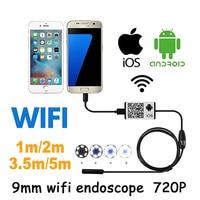 Wifi Iphone Endoscope HD 1m 3 5m 5m Wifi Endoscope 9mm 720P Borescope Waterproof Camera Endoscopio