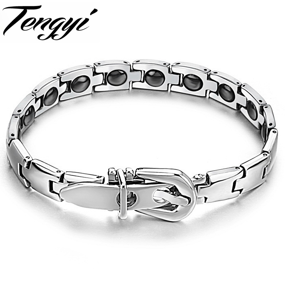 Classic 316L Stainless Steel Magnetic Bracelet New Healthy Power Magnetic Energy Balance Link chain 977(