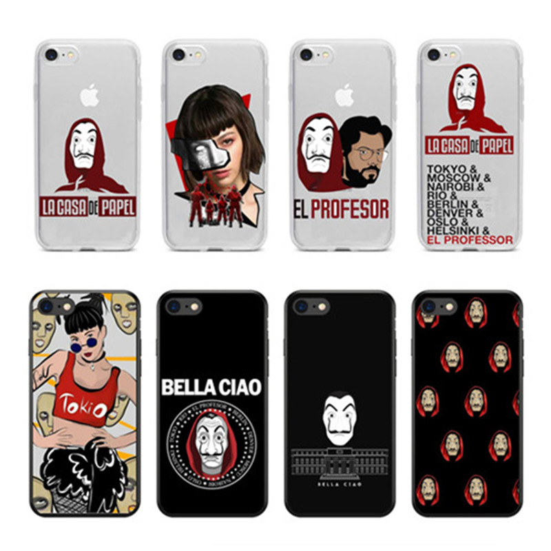 Spain TV La Casa de papel Case Dinheiro Assalto Phone Soft silicone TPU Cover Case Coque For iPhone X 4 5 6 7 8 Plus Money Heist image