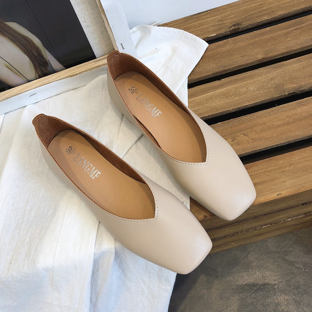 Fashion Low-heeled Anti-skid Shoes Women Summer Autumn Skid-proof Square Toe Flat Korea Style Sandals Shoes Shallow Simple Shoe(China)