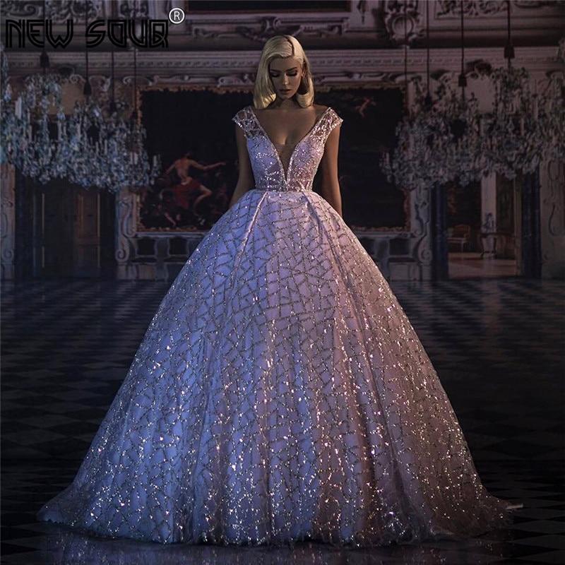 Ball Gown Dubai Glitter Evening Dresses Long New Arrival Saudi Arabia Aibye Prom Gowns Vestido De Festa Party Gowns Kaftans 2019