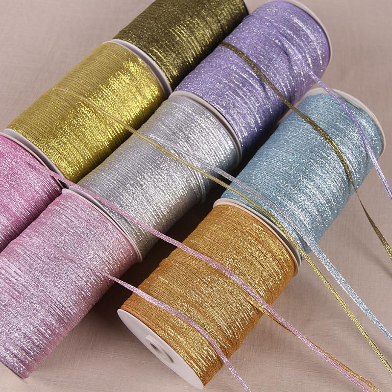 Многоцветная лента из органзы 3 мм 10 м/лот, блестящие вышитые ленты для лука для свадебного торта, подарочные украшения для самодельного изг...