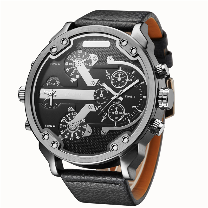 Oulm Leather Fabric Men's Big Watches Famous Luxury Brand Male Quartz Watch Multiple Time Zone Sports Men Large Wristwatch