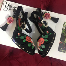 YIFSION New Fashion Black Genuine Leather Floral Women Summer Sandals Open Toe Buckle Strap Thin High Heel Shoes Woman
