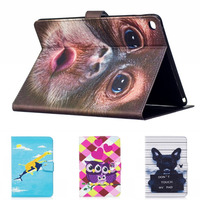Fashion Cartoon Cute Owl giraffe Monkey Cat Tree wallet PU Leather Stand smart Case Cover For New ipad 9.7 2017 with screen film