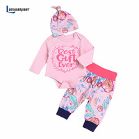 Lanxuanjiaer Newborn Baby Girl Clothes 2018 Spring Infant Clothing Sets Printing Flower Romper Pants Hat 3Pcs