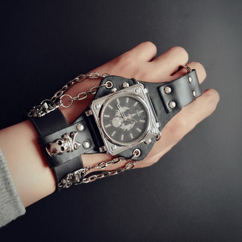 ot02 men punk skull black leather bracelet wrist watches with 50mm wide band big dial watch