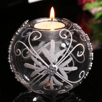 Freeshipping Clear Glass Round Candle Holders with White Butterfly Design Spring Wedding Evenet Home Decorative Message