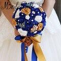 Handmade Rosas Bouquets de Noiva Buquê de Casamento Broche de Borboleta Strass Branco Azul Royal Da Dama de honra do Ramo De Flores Novia
