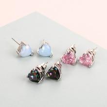 2019 New Purpel/Pink/Blue Fire Opal Heart Stud Fashion Earrings For Women Shiny Rhinestone Ear Stud Wedding Earrings Jewelry pair of charming rhinestone faux opal stud earrings
