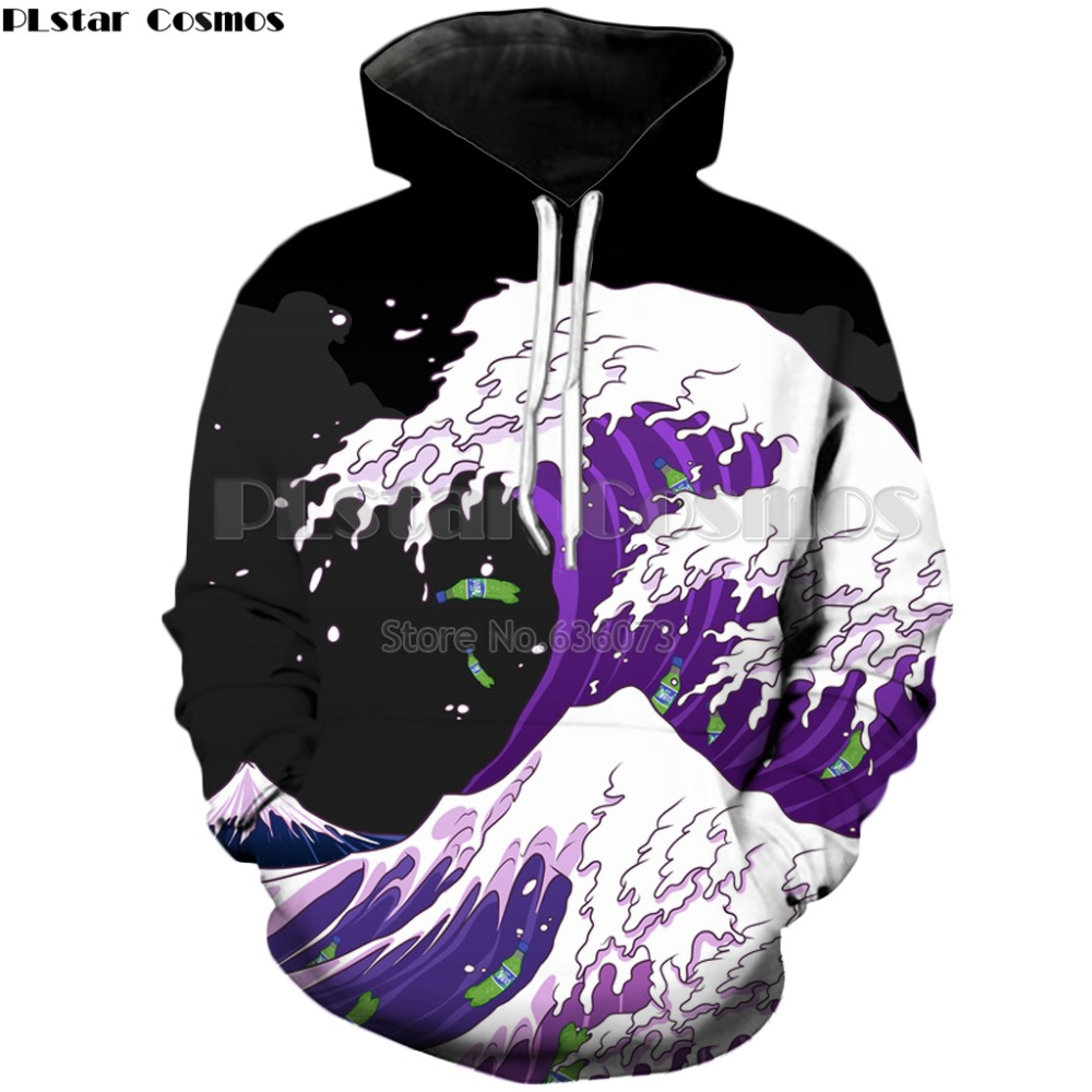 PLstar Cosmos 2018 Autumn New style Fashion Hoodies Mens Womens Hooded sweatshirt waves 3d Print Hoody casual Pullovers ZH403