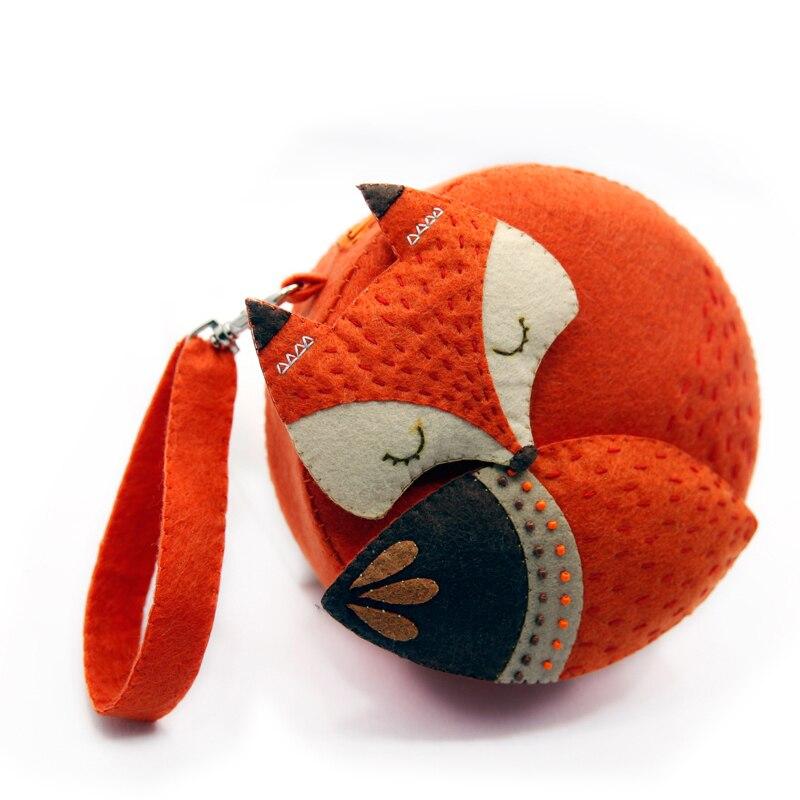 Felt Fabric DIY Fox Handbag Cartoon Bags For Children Birthday / Festival Gift Sewing Art Free Cutting Material DIY Package Set