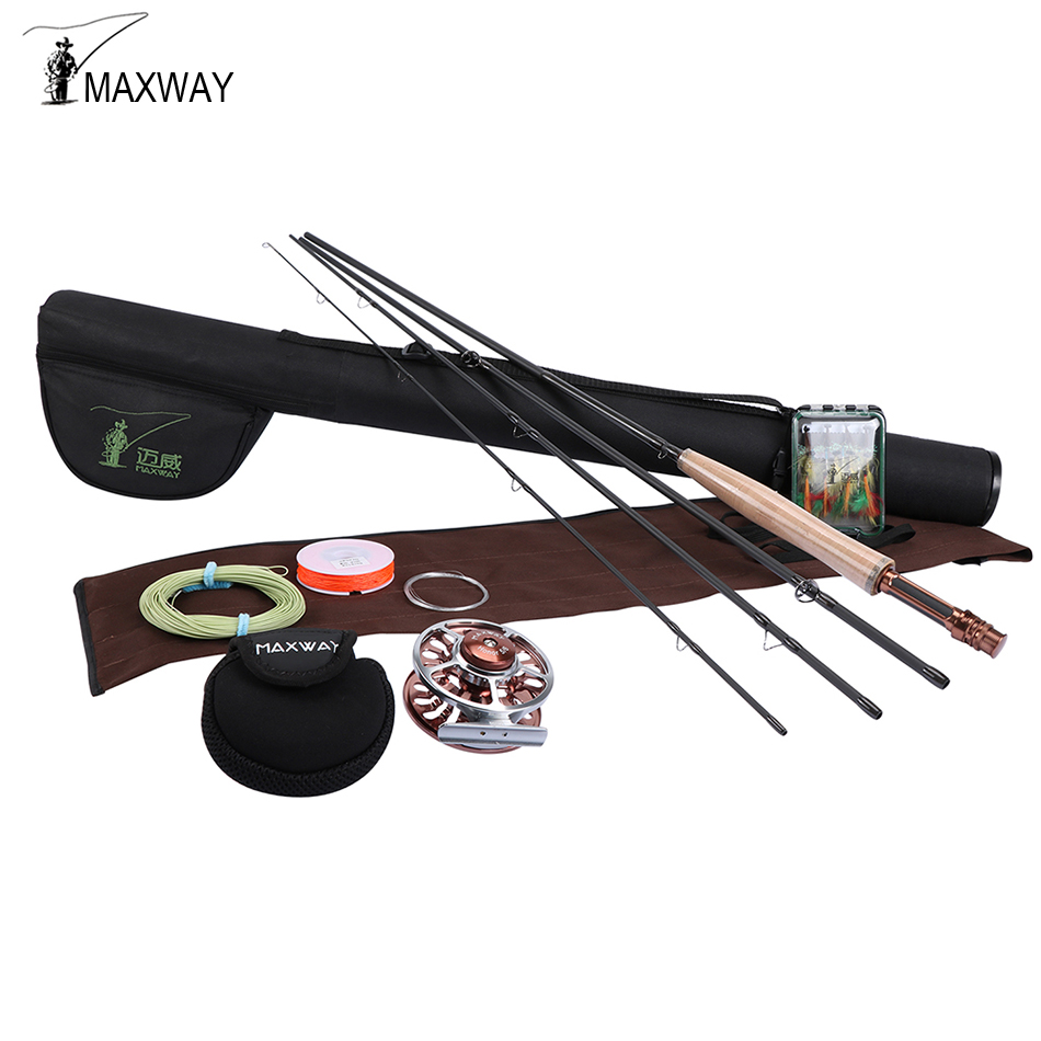 Maxway Honor Series High Carbon Fly Fishing Rod Combo 2.4M 2.7M 3.0M Fly Fishing Complete Starter Package fly fishing combo 5wt 9ft carbon fiber fly rod