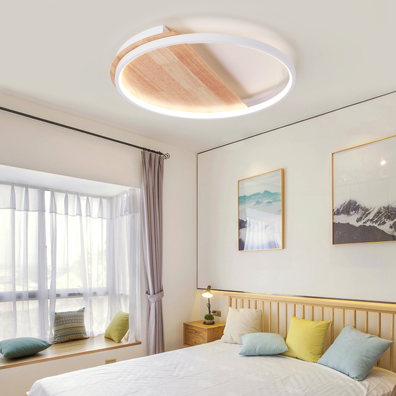 MDWELL Post moderne holz led-deckenleuchten wohnzimmer schlafzimmer Nordic kreative persönlichkeit super dünne kreisförmige decke lampe