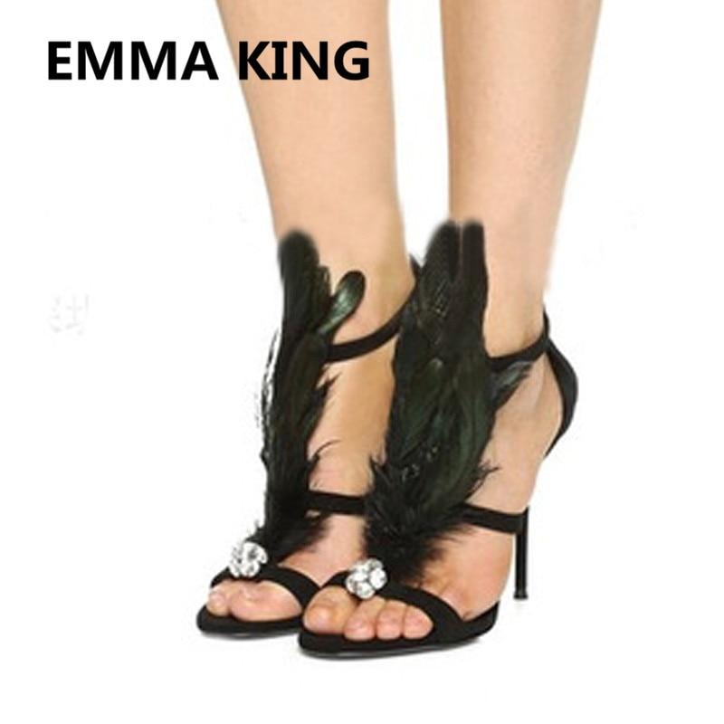 2019 piste noir plume femmes été gladiateur sandales bout ouvert creux cristal chaussures à talons hauts femme retour Zipper fête sandales