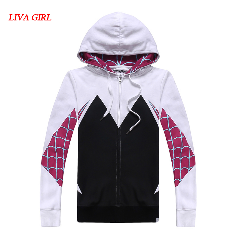 LIVA GIRL Spider-Man:Homecoming Gwen Hoodie Coat Stacy Cosplay Costume for Halloween Costume for Women Female Spiderman Sweater