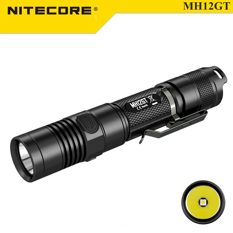 Nitecore MH12GT XP-L HI V3 1000LM Multitask Tactical Rechargeable LED Flashlight 320M For Camping Hiking Fishing+18650 Battery