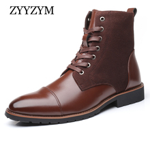 ZYYZYM Men Leather Boots Autumn Winter Superior quality Plush Motorcycle Military Plus Size 38-48