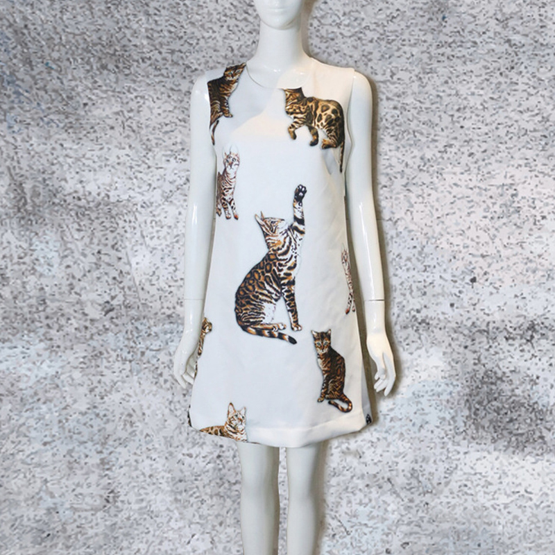 Mini Robe Personnalisé Imitation Femmes Nouvelle Élégant Chat Slim Arrivée Robes Multi 2018 Été Sans Printemps Mode Impression De Manches Soie wP8OXkn0