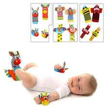Baby Toy Baby Rattles Toys Animal Socks Wrist Strap with Rattle Baby Foot Socks Bug Wrist Strap(China)