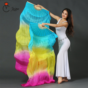 Image 3 - Belly dance fans High quality 20 colors 100% silk veils dance fans bamboo ribs long Stage Performance Property props 180cm