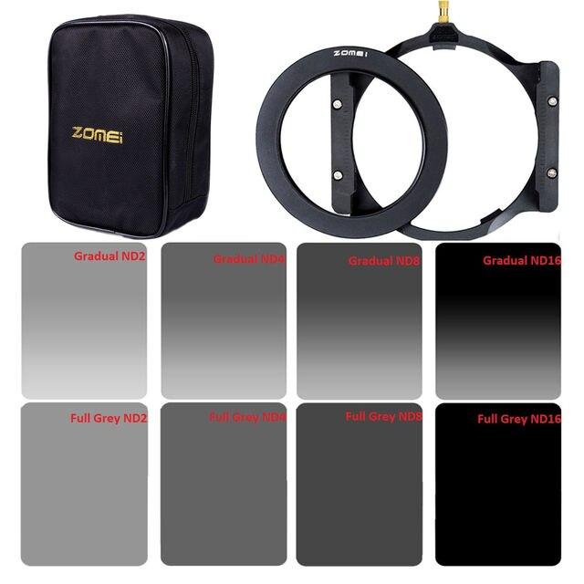 Trasporto libero Zomei filtro Quadrato 150*100 millimetri Completo e Laureato ND2 4 8 16 Densità Neutra ND filter holder + 67/72/77/82/86 millimetri adattatore