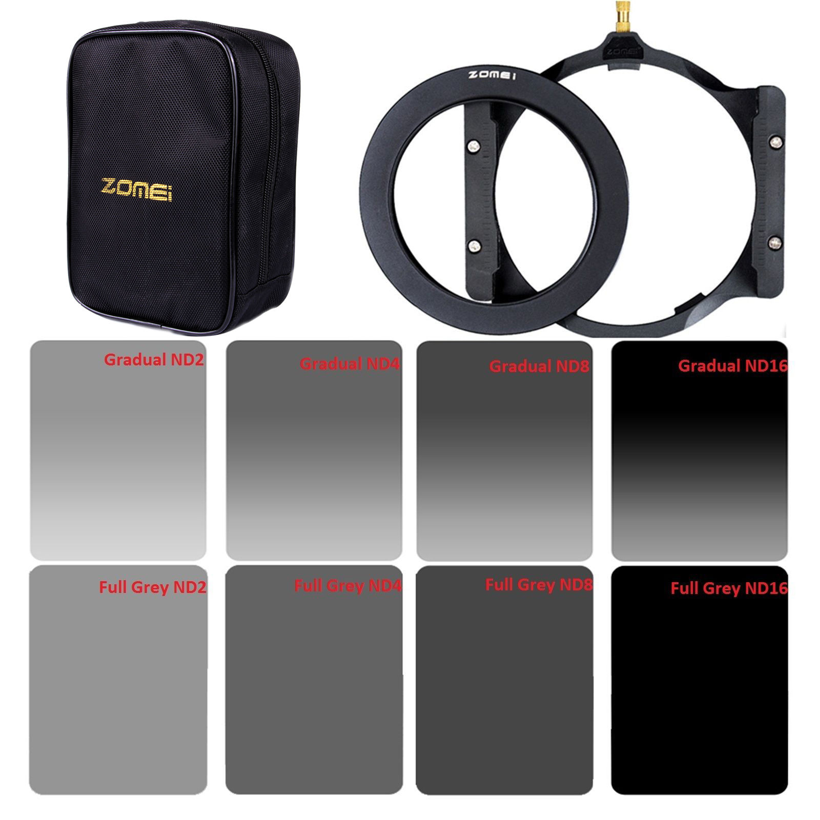 Zomei Square filter 150*100mm Complete&Graduated ND2 4 8 16 Neutral Density ND filter holder+67/72/77/82/86mm adapter graduated neutral density nd color filter set black transparent 6pcs