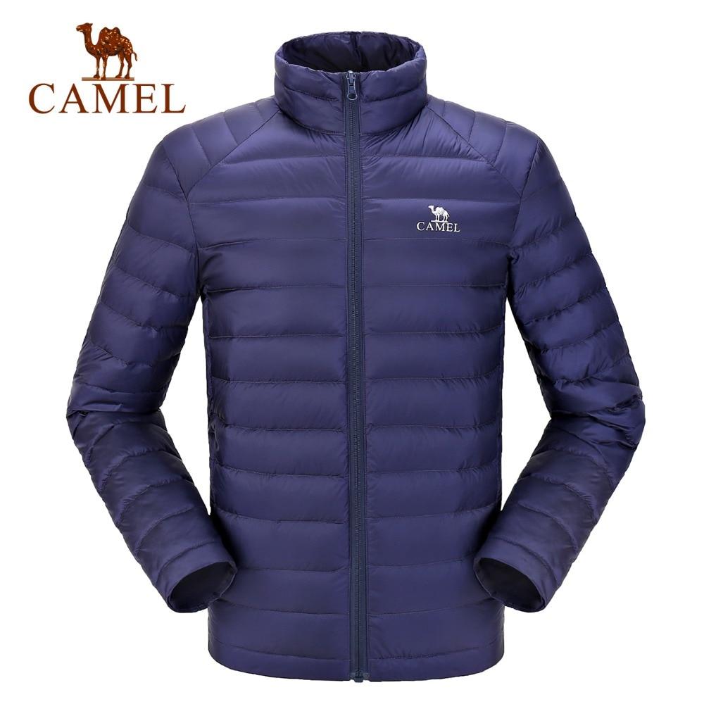 CAMEL New Men's Winter White Duck Down Jacket Ultralight Down Jacket Casual Outerwear Snow Warm Fur Coat
