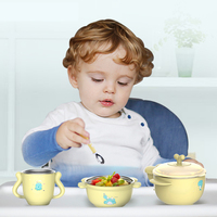 Baby Bowl Set Stainless Steel Bow Stainless steel bowl shatter resistant cartoon cute bowl spoon set