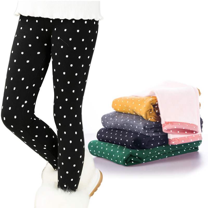 все цены на Winter Baby Girls Leggings Thicken Warm Candy Color Dot Pants for Girls Toddler Children Kids Plus Velvet Trousers Legins Getry онлайн