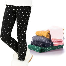4d762bfb7b1c3 Winter Baby Girls Leggings Thicken Warm Candy Color Dot Pants for Girls  Toddler Children Kids Plus Velvet Trousers Legins Getry