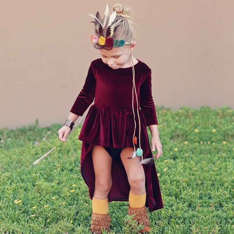 bca570cc64c Robe de filles en velours doré robe de princesse fille pourpre robes  d hiver pour filles vêtements enfants Costume de noël dans Robes de Mère et  Enfants sur ...
