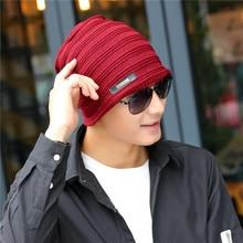 Horizontal Stripe Brand Beanies Knit Men's Winter Hat Caps Skullies Bonnet Winter Hats For Men Women Beanie Fur Warm Knitted Hat