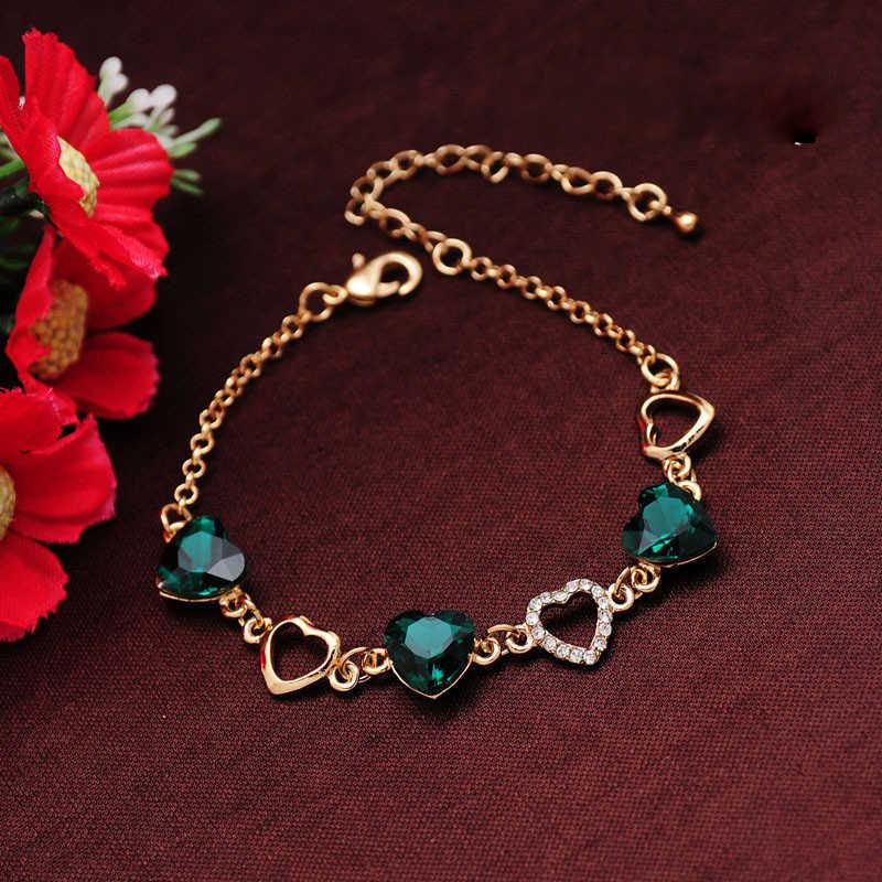 Guvivi, pulseras de corazón romántico para mujer, Color dorado, cristal, Charm, pulseras, brazalete joyería para mujer, Bisutería